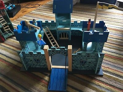 Wooden Toy Medieval Castle, Catapult Tower And Knights, Horses And Archers