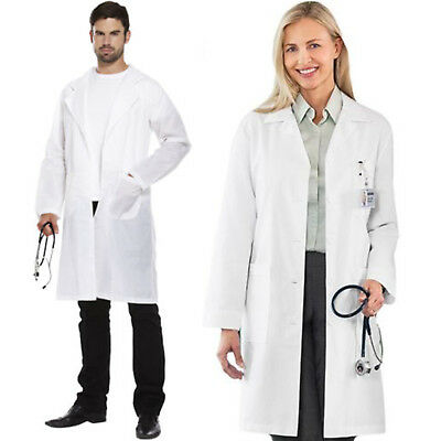 White Unisex Lab Vet Coat Medical Doctor Long Sleeve Warehouse Hygiene Work Wear