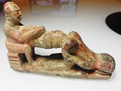 Zurqieh - Ancient Egypt. Ptolemaic. 300 B.c Large Erotic Painted Stone Figure
