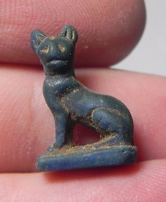 Zurqieh -Af1416- Ancient Egypt , Glass Or Frit Cat Amulet. 300 B.c