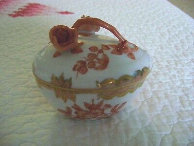 Vintage Herend Queen Victoria Fortuna Rust Heart Shape Box with Cover