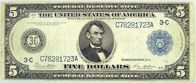 Series Of 1914 $5 Federal Reserve Note Philadelphia Fr#855a Circulated #6