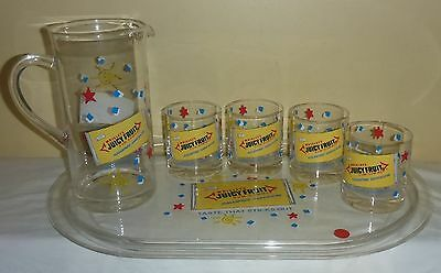 Vintage Wrigley's Juicy Fruit Gum Serving Tray With Pitcher And Four Glasses