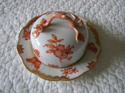Vintage Herend Queen Victoria Fortuna Rust Butter Dish with Cover Twig Handle