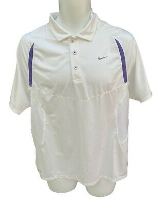 New Vintage NIKE TENNIS DriFit Polo Shirt  Off White / Purple Medium M
