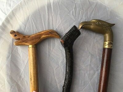 Lot of 3 Wooden Canes Walking Sticks Carved Brass Eagle AAFA Vintage VTG