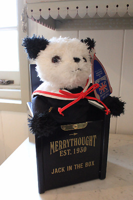 Rare Navy Blue Merrythought Jack In The Box Panda Bear
