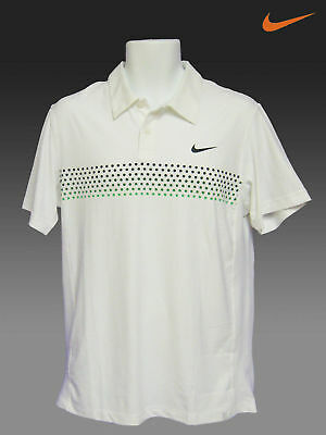 New NIKE TENNIS DriFit Polo Shirt Federer Off White with Green Dots L