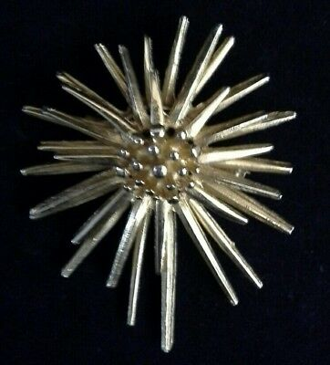 Vintage 'Hollywood' Modernist Goldtone  Sunburst Brooch