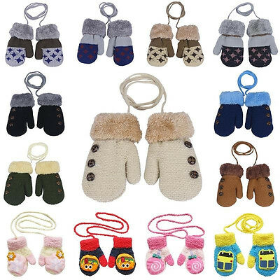 Toddlers Baby Kids Girls Boys Winter Warm Knitted Mittens Gloves 0-12 Months New