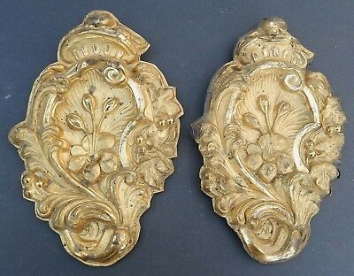 Pair Antique 19thC English Repousse Brass Tin Curtain Tie Backs Decorative AS IS