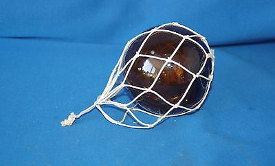 "Vintage amber Glass Gypsy 2.5"" (6.5cm)  Ball Fishing Float with String to hang"