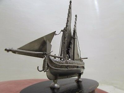 Vintage Nautical Hallmarked Maltese Silver Miniature Model Sailing Boat / Ship