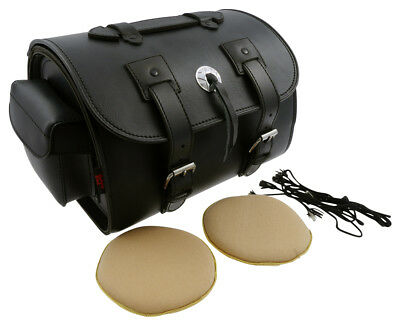 Leather suitcase Plain Tek leather 40X28X24 for Sissybar, motorcycle, chopper
