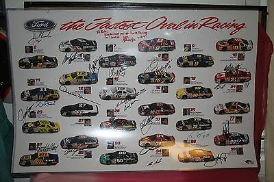 Autographs 22X Nascar Ford Poster,elliott,wood,roush,allison,elliott,martin+More