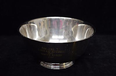 """Oneida Silver Plate 8"""" Trophy Bowl Engraved 1969 San Jose Y 2nd Place Pre-owned"""
