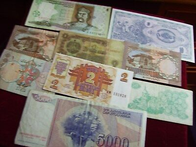 Collection Of Banknotes Used 9 Notes