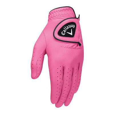 NEW Callaway Opti-Color Leather Pink Golf Glove Women's Left Medium (M)