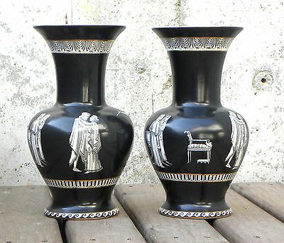 Pair of Rialto English Porcelain Vases Classical Figures Black Baluster Form