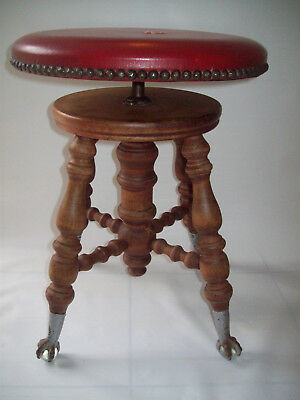 Piano stool THE CHAS PARKER CO MERIDAN C T metal claw feet  glass ball initial P
