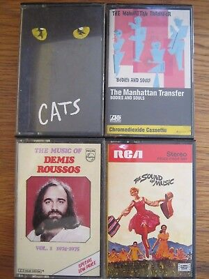 Sound of Music Cats Weber Manhattan Transfer Demis Roussos Audio Cassette Tapes