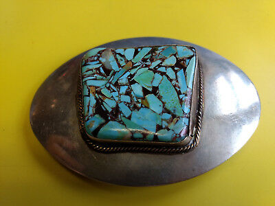 """Turquoise Pieces Design Silver Tone Western Belt Buckle 3 5/8"""" x 2 5/8"""""""