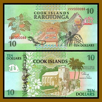 Cook Islands 10 Dollars, ND 1992 P-8 (Replacement ZZZ000088) Unc