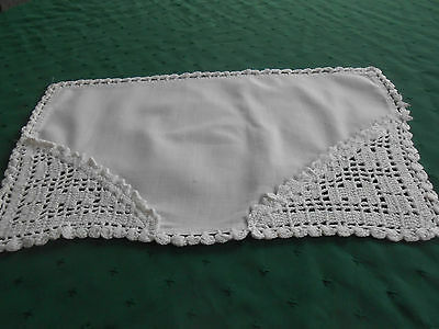 Unique Hand Made Doily, White Linen With Hand Crochet Corners,, Circa1930