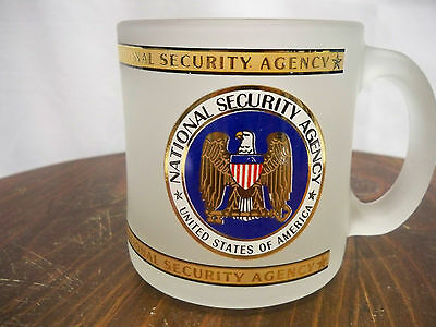 National Security Agency Frosted Glass Coffee Mug Cup NSA Seal Emblem Eagle USA