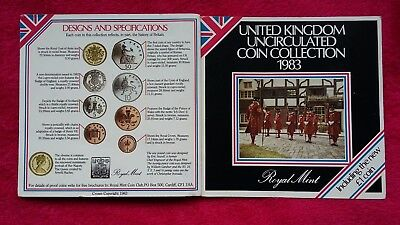 Royal Mint UK 1983 Uncirculated Coin Collection Set Of 8 Coins In Pack  @