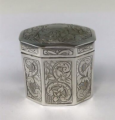 Antique Dutch Netherlands Decorated .833 Silver Octagonal Hinged Lid Box