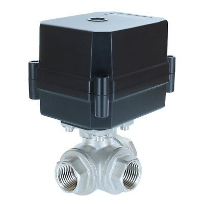 """1/2"""" NPT, 3-way, 12V DC, Motorized Ball Valve, Stainless Steel / PTFE  3-wire"""