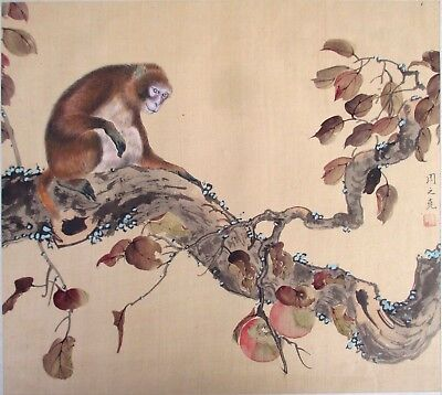 Really nice QUALITY JAPANESE PAINTING of a MONKEY in a TREE