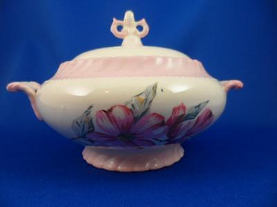 SUGAR BOWL: Steubenville MONTICELLO DOGWOOD PINK Imported by Herman C. Kupper