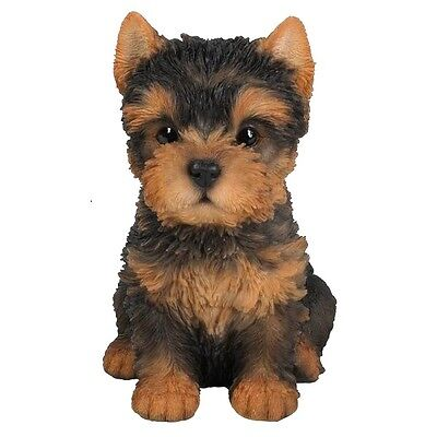 Sitting Yorkshire Terrier Puppy Dog New Realistic Life Like  Statue Home Decor