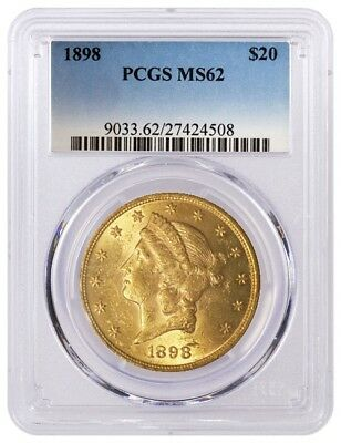 1898 $20 Liberty Head Double Eagle Gold PCGS MS62