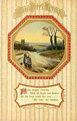 Ladies Chat on Roadside~Geese Cross~Gold Red Ball Frame~Wallpaper~Emboss~Germany