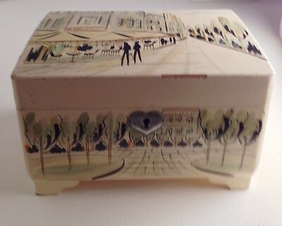 Vintage Music Jewelry Box Hand Painted Laquered Wood Parisian Scene Japan Mirror