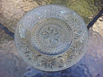 Pressed Glass Plate Clear W Floral Design Vintage 1940s