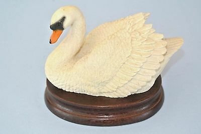 Vintage 1988 Castagna Swan Figurine with wood stand ~ Made in Italy