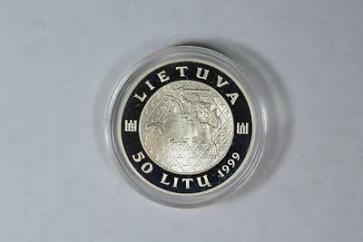 1999 Republic Of Lithuania Sterling Silver Proof 50 Litas Coin 34Mm