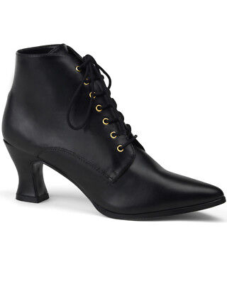 Black Lace Up Victorian Womens Ankle Boots