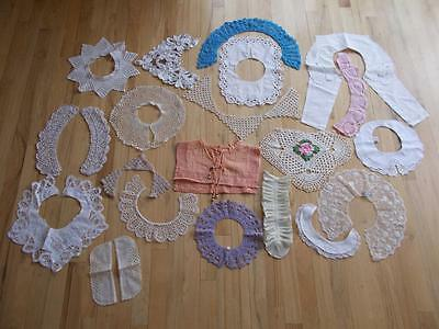 Lot of 20 vintage COLLARS crochet CUT WORK embroidery LACE fabric sewing wht bl