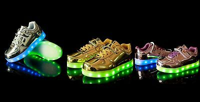 New Baby Toddler Girls Boys Light Up LED Shoes Elastic Lace USB Rechargeable