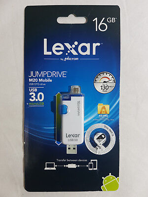 Lexar Jumpdrive M20 Mobile Usb 3.0 16Gb - Transfer Photos From Phone To Usb New!