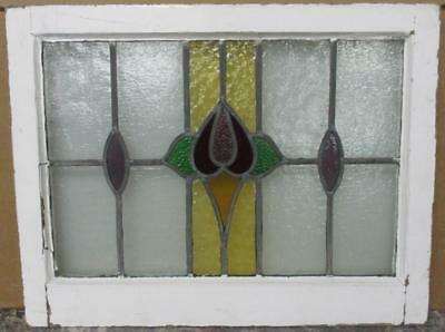 "MID SIZED OLD ENGLISH LEADED STAINED GLASS WINDOW Pretty Floral 23.25"" x 18.25"""