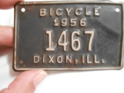 Vintage Dixon, Illinois Bicycle 1956 License Plate No. 1467