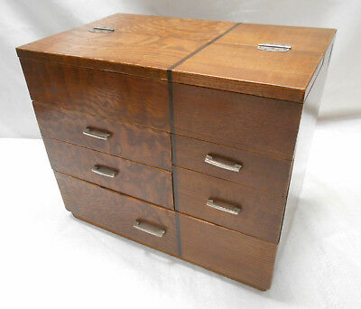 Vintage Deco Keyaki and Kiri Wood Sewing Box Japanese Drawers C1930s #712