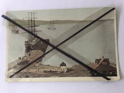 ANTIQUE VINTAGE OLD COLOUR POSTCARD Loading grain Victor Harbour sailing ships