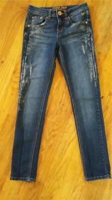 JUSTICE 10R Skinny JEANS Denim PANTS Factory GLITTER Paint SPATTER Trendy FALL